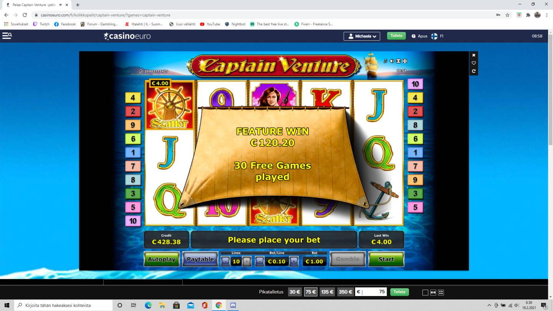 Captain Venture Casino win picture by tiikerililja87 19.2.2021 120.20e 120X Casino Euro