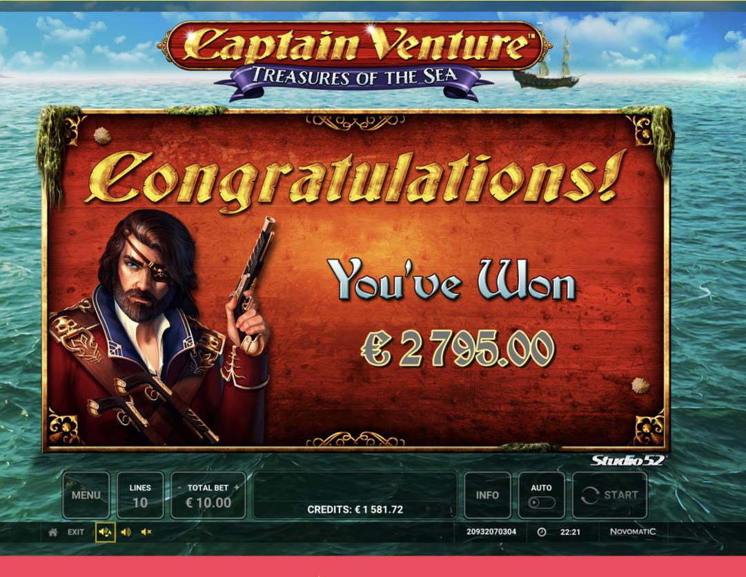 Captain Venture Treasures of the Sea Casino win picture by Pottijussi 20.2.2021 2795e 280X