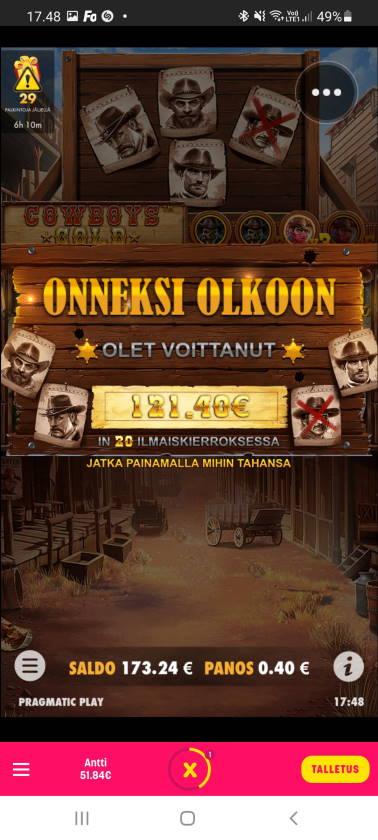 Cowboys Gold Casino win picture by dj_niemi 19.2.2021 121.40e 304X Caxino