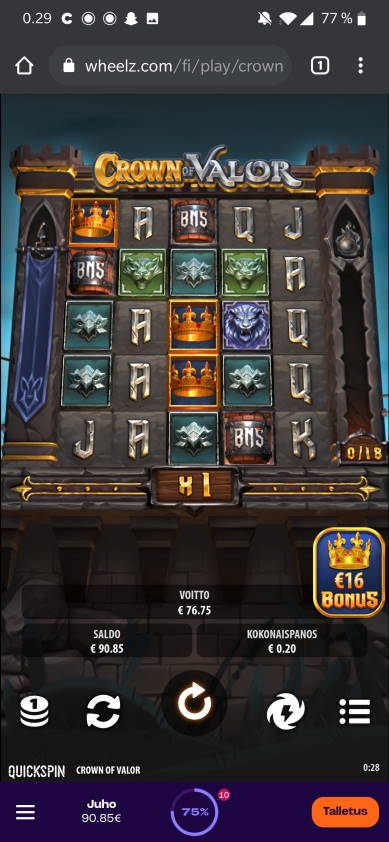 Crown of Valor Casino win picture by jube 11.3.2021 76.75e 384X Wheelz