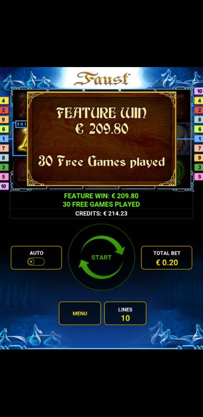 Faust Casino win picture by rumakunsaapas 17.2.2021 209.80e 1049X