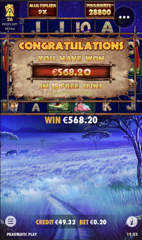 Great Rhino Megaways Casino win picture by Laeppis 24.2.2021 568.20e 2841X