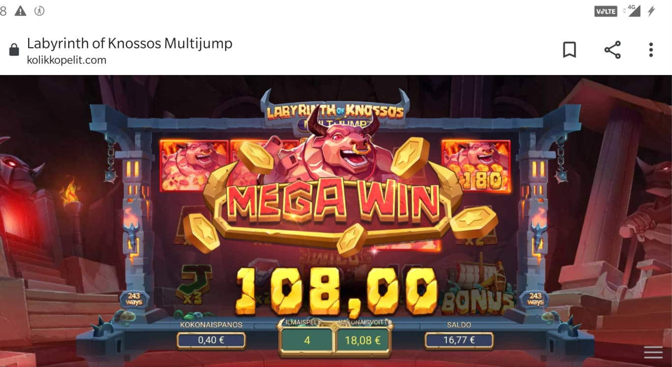 Labyrinth of Knossos Multijump Casino win picture by MikoTiko 18.2.2021 108e 270X Kolikkopelit