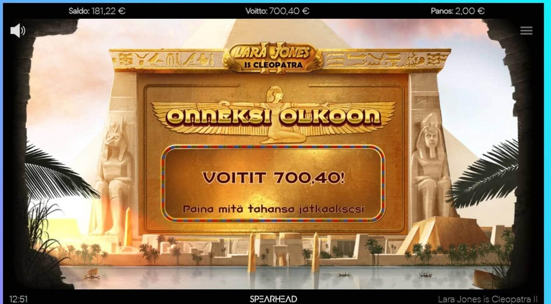 Lara Jones is Cleopatra 2 Casino win picture by Orava 11.3.2021 700.40e 350X