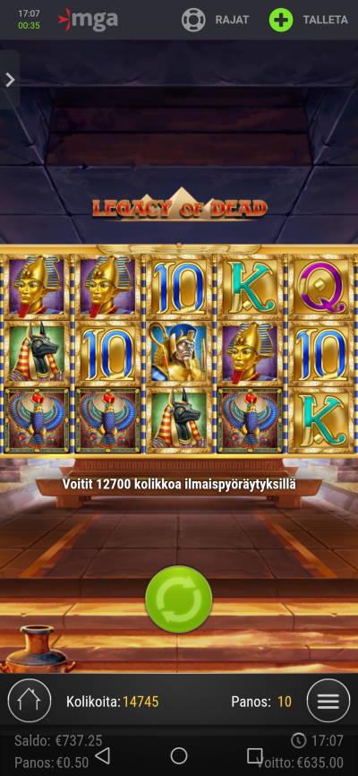 Legacy of Dead Casino win picture by jyrkkenkloppi 22.2.2021 635e 1270X