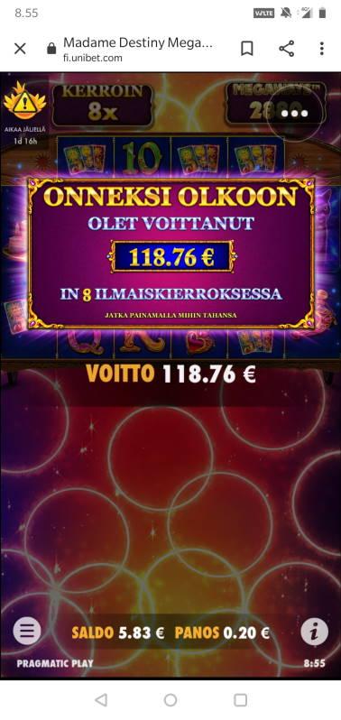Madame Destiny Megaways Casino win picture by MikoTiko 16.2.2021 118.76e 594X Unibet