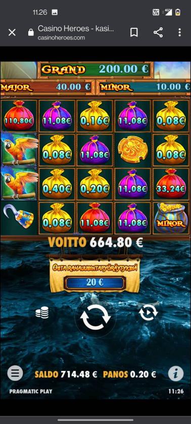 Pirate Gold Deluxe Casino win picture by terskanaattori 19.3.2021 664.80e 3324X Casino Heroes