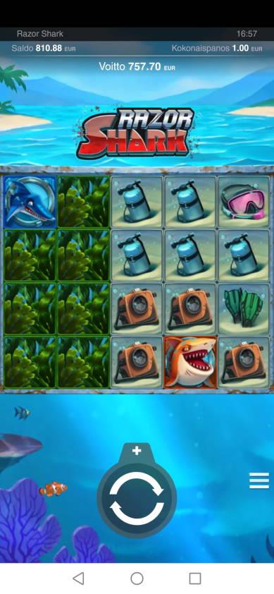Razor Shark Casino win picture by jyrkkenkloppi 20.2.2021 757.70e 758X