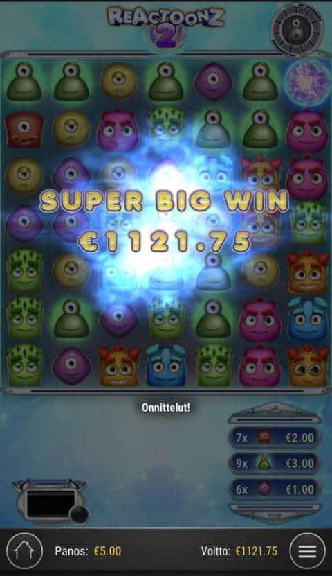 Reactoonz 2 Casino win picture by Sonefinland 19.2.2021 1121.75e 224X