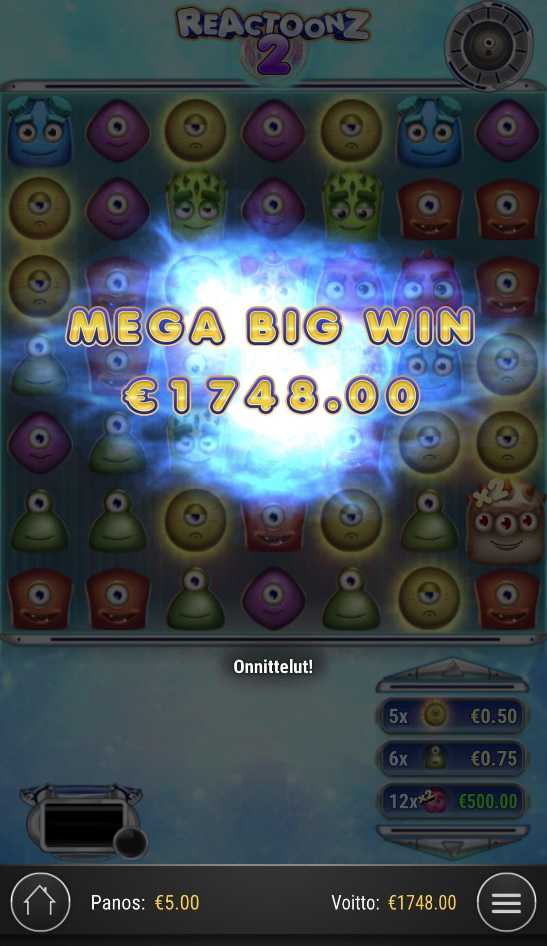 Reactoonz 2 Casino win picture by Sonefinland 19.2.2021 1748e 350X