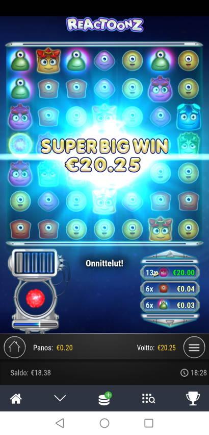 Reactoonz Casino win picture by Hookos 21.2.2021 20.25e 101X