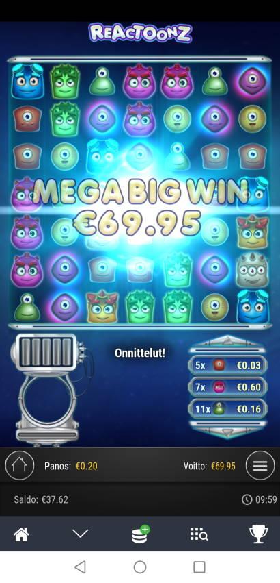 Reactoonz Casino win picture by Hookos 21.2.2021 69.95e 350X