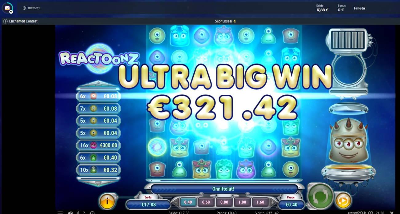 Reactoonz Casino win picture by MrMork 22.2.2021 321.42e 804X