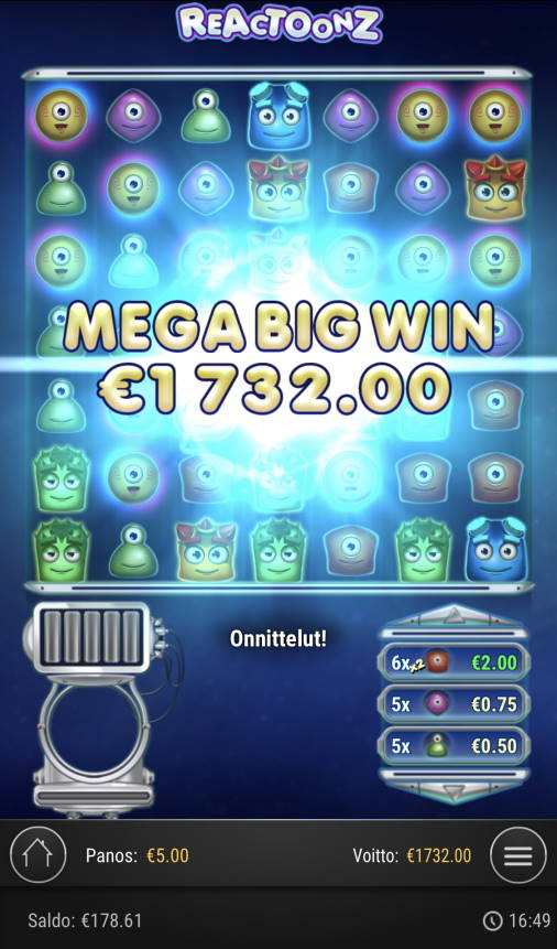 Reactoonz Casino win picture by Sonefinland 17.2.2021 1732e 346X