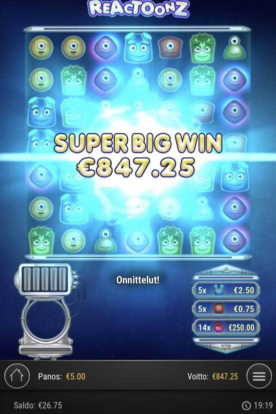 Reactoonz Casino win picture by Sonefinland 17.2.2021 847.25e 169X