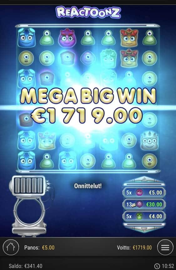 Reactoonz Casino win picture by Sonefinland 19.2.2021 1719e 344X