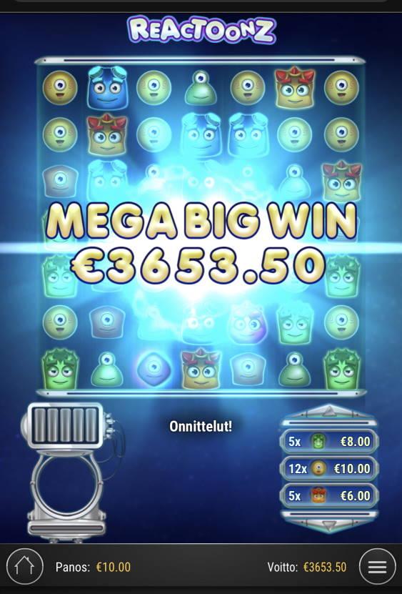 Reactoonz Casino win picture by Sonefinland 19.2.2021 3653.50e 365X