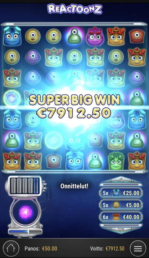 Reactoonz Casino win picture by Sonefinland 20.2.2021 7912.50e 158X