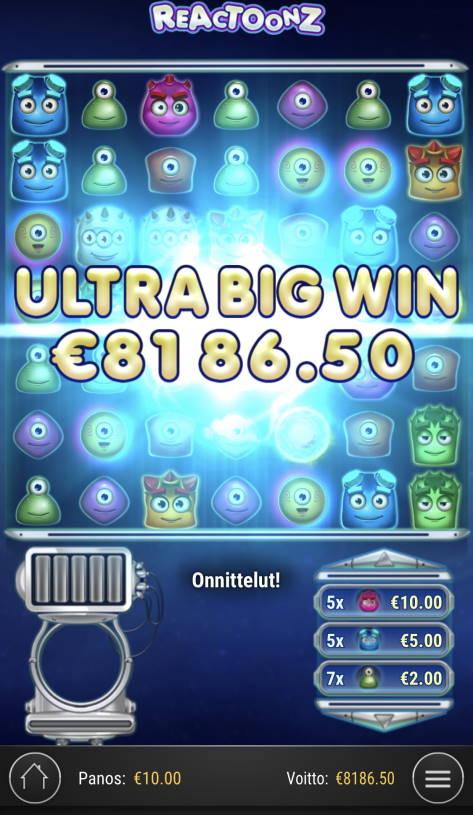 Reactoonz Casino win picture by Sonefinland 20.2.2021 8186.50e 8187X