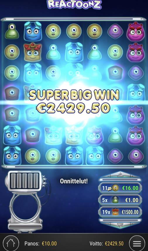 Reactoonz Casino win picture by Sonefinland 21.2.2021 2429.50e 243X