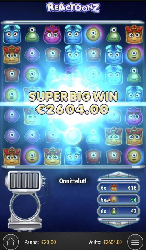Reactoonz Casino win picture by Sonefinland 21.2.2021 2604e 130X