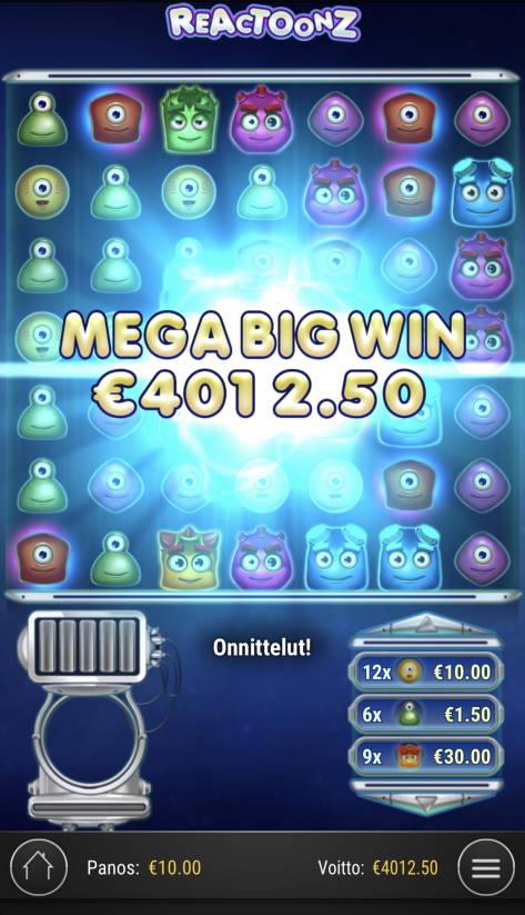 Reactoonz Casino win picture by Sonefinland 21.2.2021 4012.50e 401X
