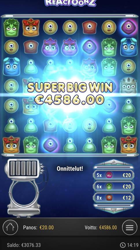 Reactoonz Casino win picture by Sonefinland 22.2.2021 4586e 229X