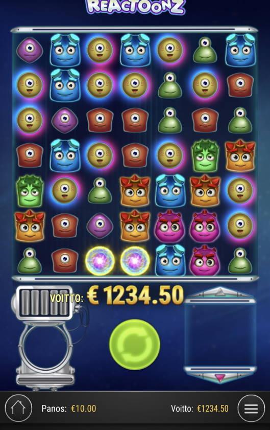 Reactoonz Casino win picture by Sonefinland 24.2.2021 1234.50e 123X