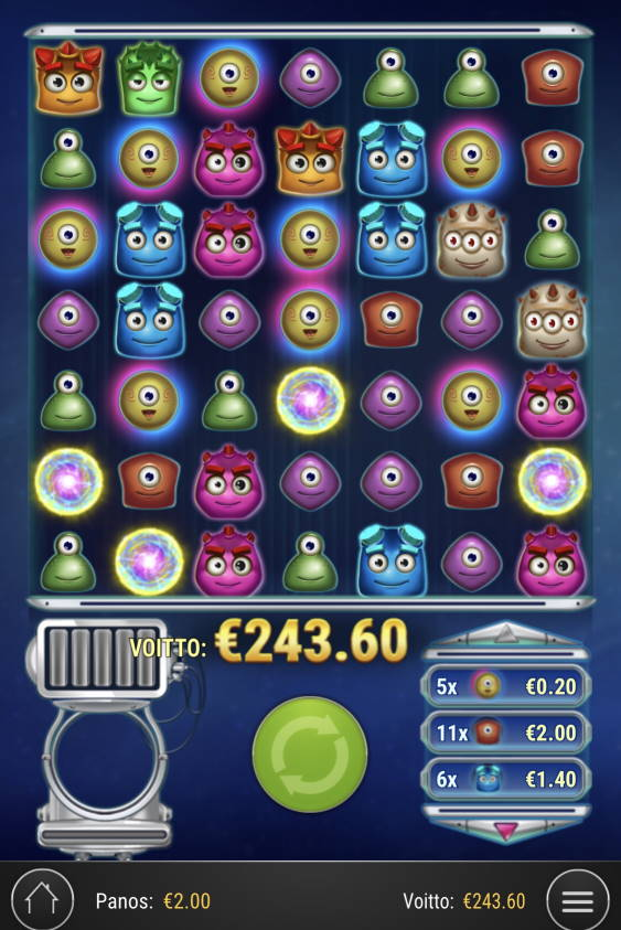 Reactoonz Casino win picture by Sonefinland 24.2.2021 243.60e 122X