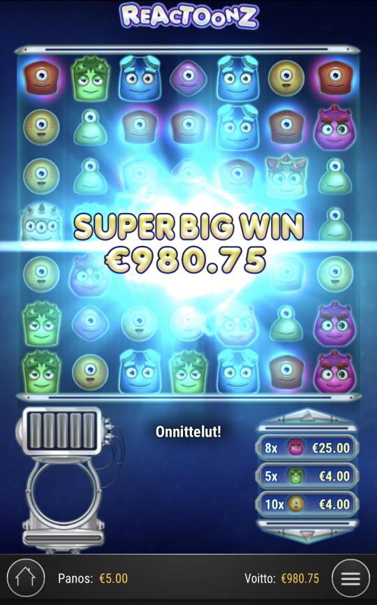 Reactoonz Casino win picture by Sonefinland 24.2.2021 980.75e 196X