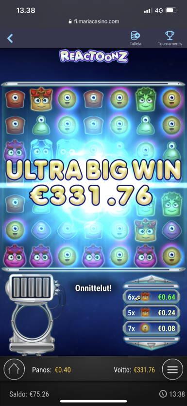 Reactoonz Casino win picture by aki_2772 19.2.2021 331.76e 829X Maria Casino