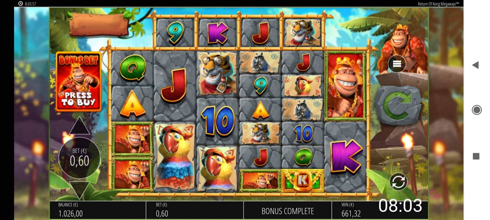 Return of Kong Megaways Casino win picture by Shorty 19.2.2021 661.32e 1102X