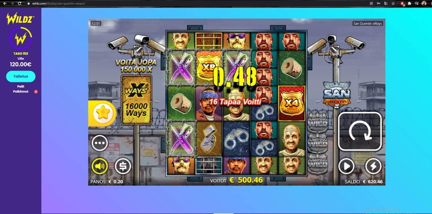 San Quentin Casino win picture by Wilho 16.2.2021 500.46e 2502X Wildz