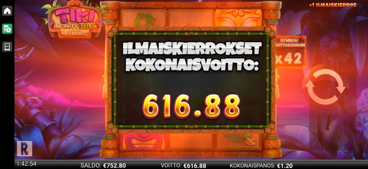 Tiki Infinity Reels Megaways Casino win picture by alkkade 31.1.2021 616.88e 514X