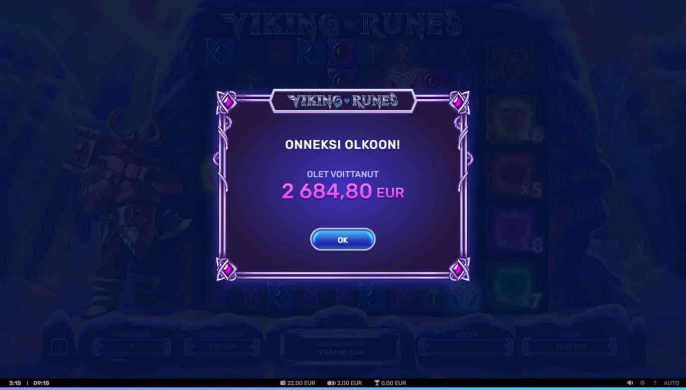 Viking Runes Casino win picture by Orava 17.3.2021 2684.80e 1342X