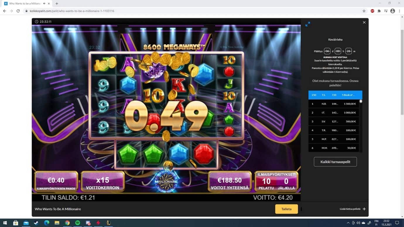 Who Wants to be a Millionaire Casino win picture by Tomezu 16.3.2021 188.50e 471X Kolikkopelit