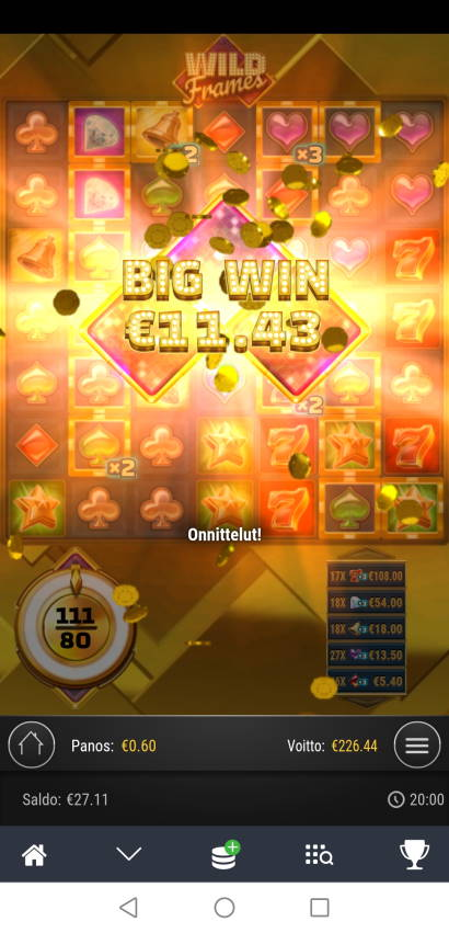 Wild Frames Casino win picture by Hookos 7.3.2021 226.44e 377X Betsson