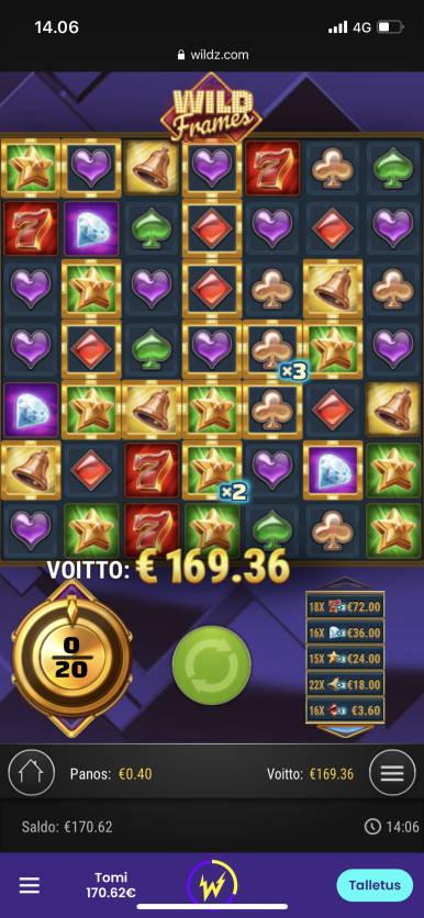Wild Frames Casino win picture by Turboburo 22.2.2021 169.36e 423X Wildz