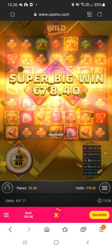 Wild Frames Casino win picture by dj_niemi 21.2.2021 78.40e 196X Caxino