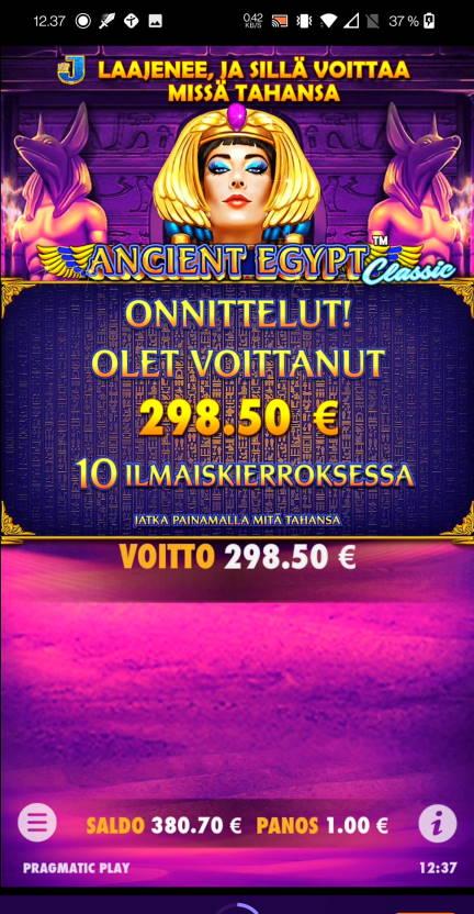 Ancient Egypt Casino win picture by Salatheel 30.1.2021 298.50e 299X Wildz