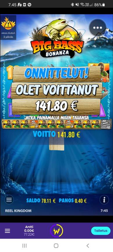 Big Bass Bonanza Casino win picture by dj_niemi 2.4.2021 141.80e 355X Wildz