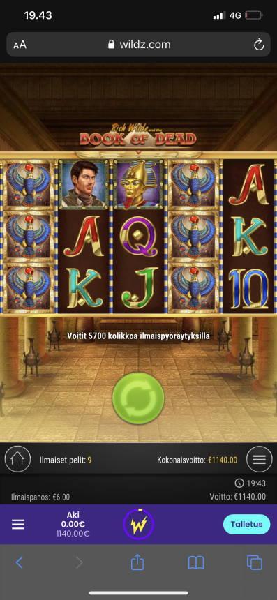 Book of Dead Casino win picture by aki_2772 1.4.2021 1140e 570X Wildz