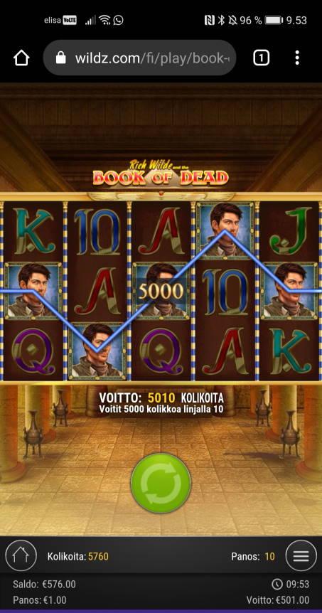 Book of Dead Casino win picture by jyrkkenkloppi 29.3.2021 501e 501X Wildz