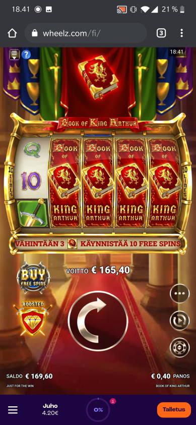 Book of King Arthur Casino win picture by jube 8.4.2021 165.40e 414X Wheelz