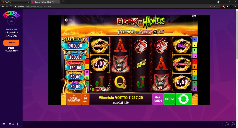 Book of Madness Casino win picture by FartyPantZ 14.4.2021 217.20e 362X Wheelz