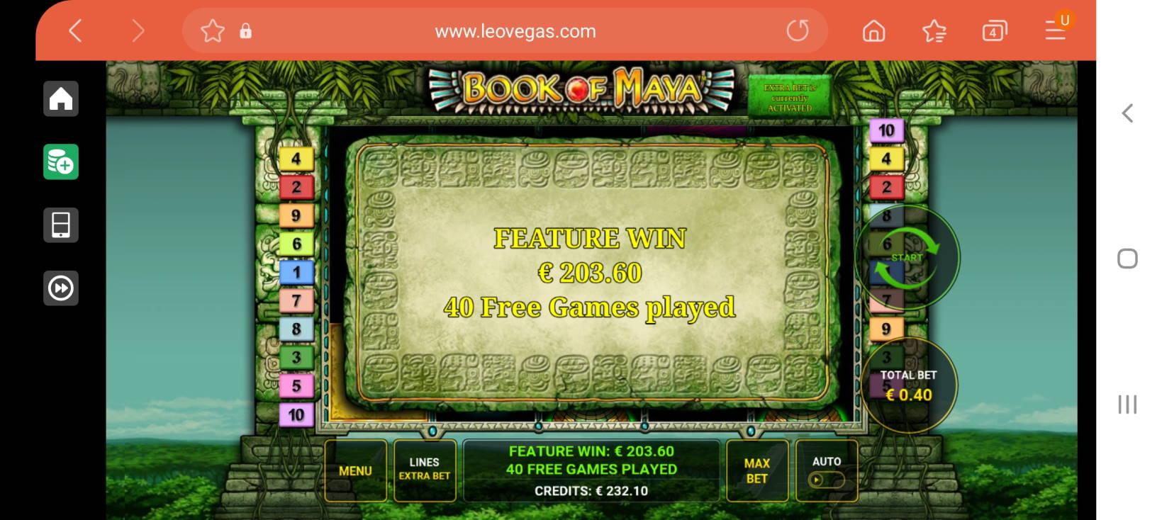 Book of Maya Casino win picture by dj_niemi 21.4.2021 203.60e 509X Leovegas