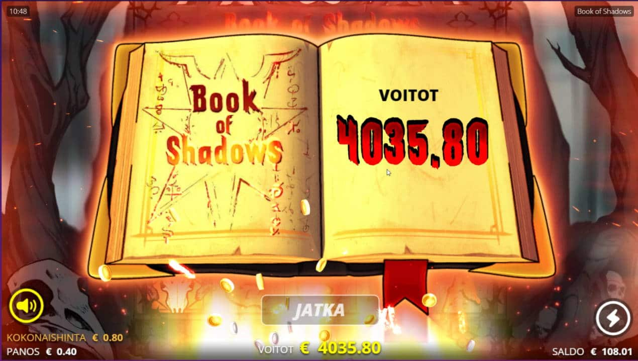 Book of Shadows Casino win picture by ronttone 30.3.2021 4035.80e 5045X