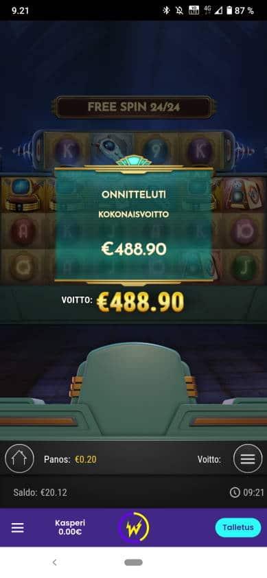 Coils of Cash Casino win picture by Kasperi001 5.4.2021 488.90e 2445X Wildz