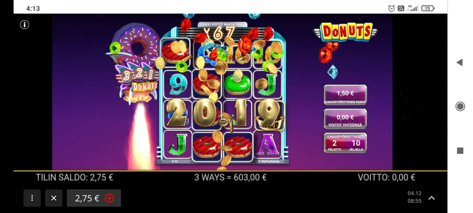 Donuts Casino win picture by Shorty 10.4.2021 603e 402X