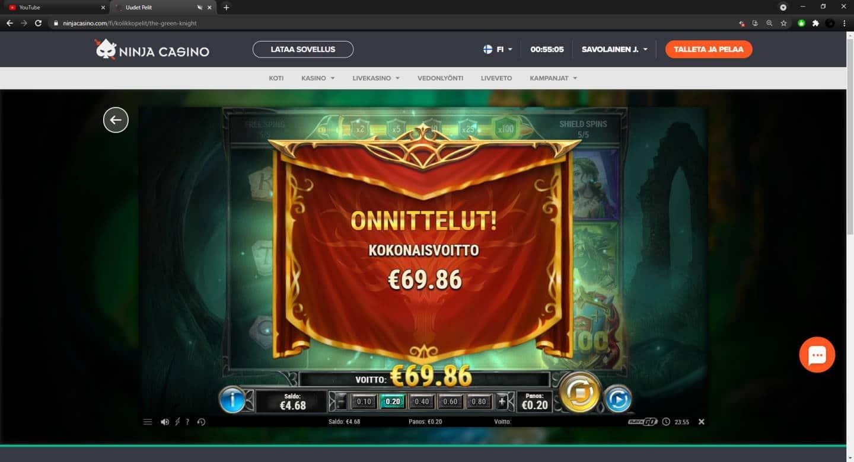 Green Knight Casino win picture by FartyPantZ 21.4.2021 69.86e 349X Ninja Casino